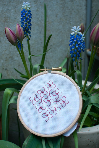 Blackwork in red. With garden flowers