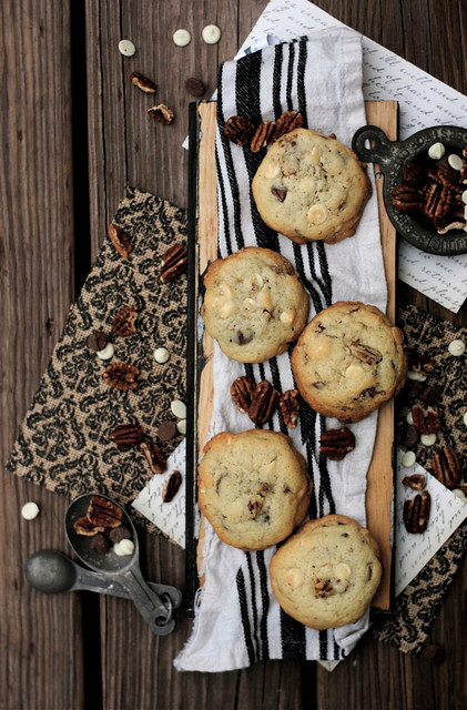Chocolate and White Chocolate Pecan Cookies