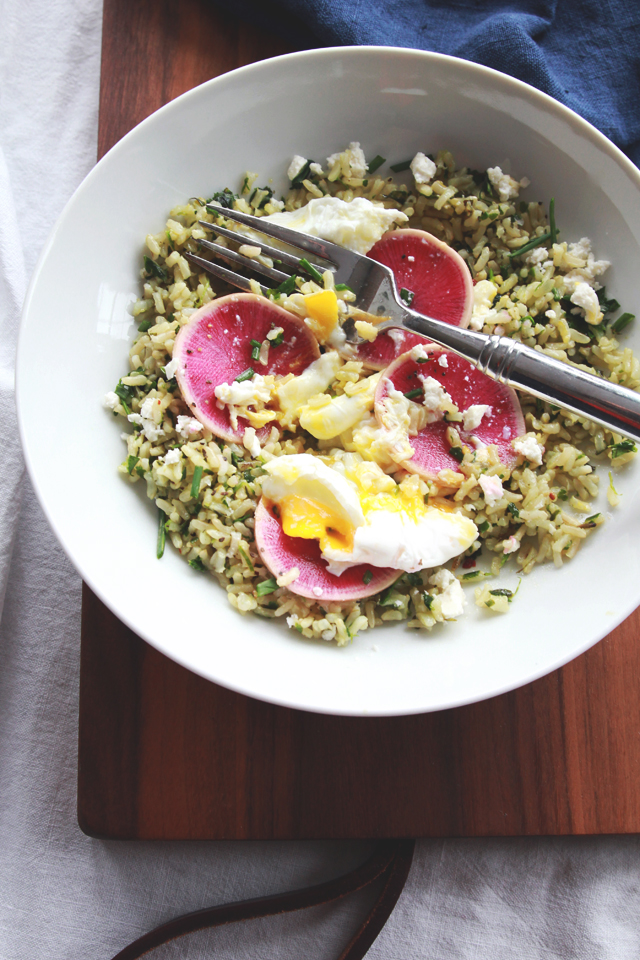 Poached Egg, Radish & Feta over Herbed Rice | perpetuallychic.com