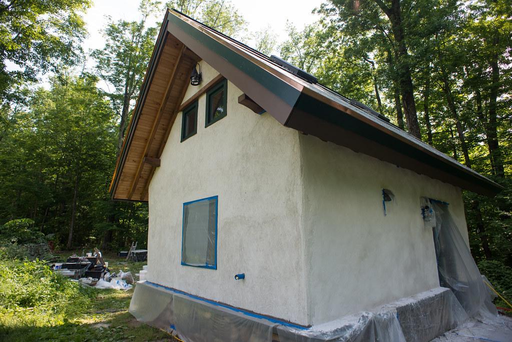 ... Plaster In Progress On Strawbale Cottage