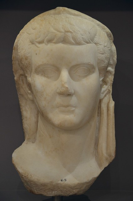 Tiberius, the head is covered by a toga and was originally inserted in a statue, found in Gortyn, Heraklion Archaeological Museum
