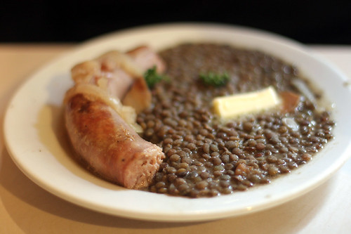 Toulouse sausage and lentils