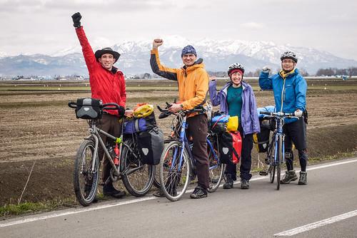 Cycling group photo (near Iwamizawa, Hokkaido, Japan)