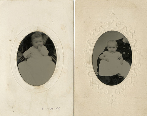 Two Small Tintypes in Mats of Babies with Hidden Mothers