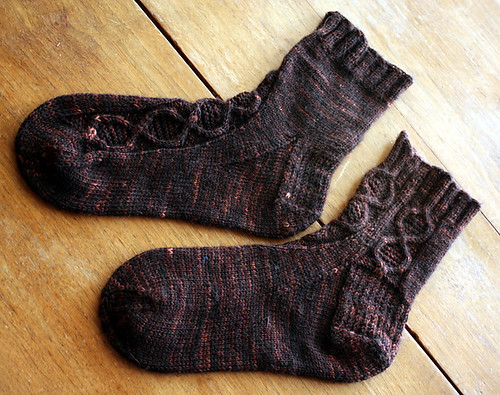 Asymmetrical Cable Socks