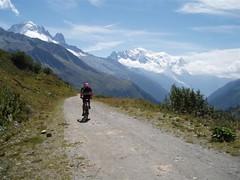 Greg descending from the Col des Posettes 1997m towards Le Tour Image