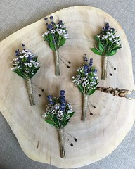 Adorable Lavender and Waxflower #boutonnieres.