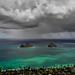 Storm, clouds and rain over Mokulua Islands in Lanikai Hawaii _DSC7286