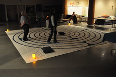 People walking the labyrinth