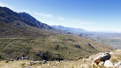 Roads Leading to the Middle of the Swartberg Pass looking down at mountains