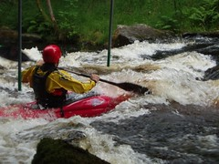 Greg surfing on the Tryweryn Image
