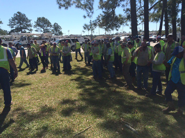 Oncor group gathers ahead of departure from Ellabell, GA on 10.13.16