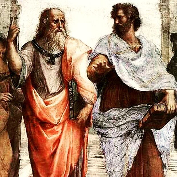 A popular Fresco from Raphael illustrating discussion between Plato and Aristotle.