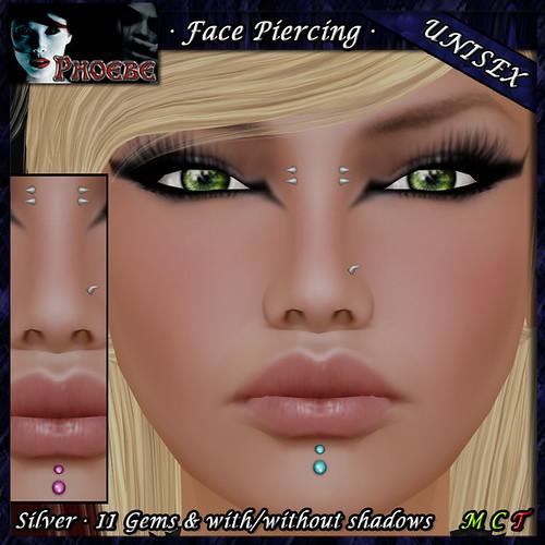 P Unisex Face Piercing Q3 ~Silver-11 Gems~