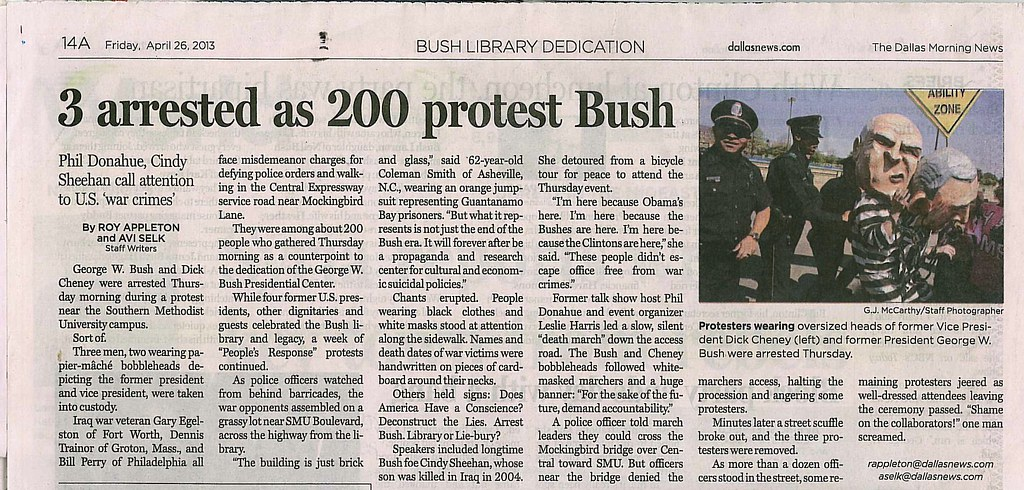 "Dallas morning news ""Bush and Cheney Arrested"""