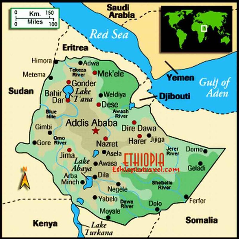 Mapa Turistico da Etiopia
