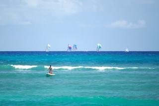 Image of Queen's Surf Beach near Honolulu. sailboat hawaii waikiki oahu honolulu