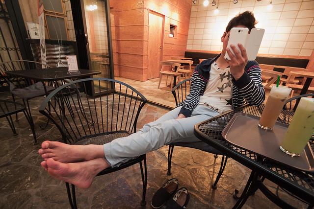 His feet.