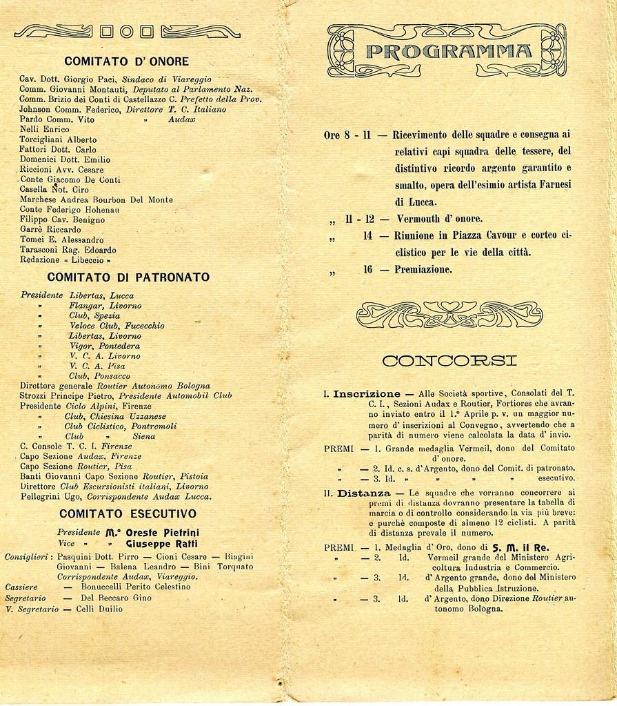 Programma Convegno ciclistico aprile 1907