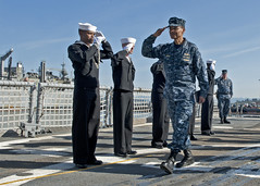 Adm. Cecil Haney passes through the side boys as he arrives aboard USS Rodney M. Davis (FFG 60) for a command visit and tour. Haney's visit to USS Rodney M. Davis in Everett, May 2. (U.S. Navy photo by Mass Communication Specialist 3rd Class Jonathan A. Colon)