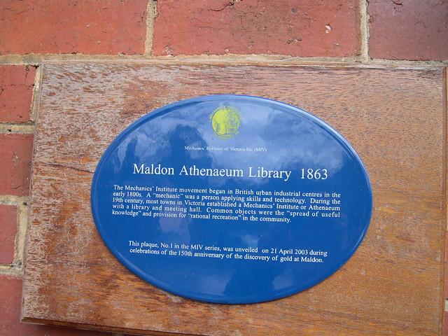 Photo of Maldon Athenaeum Library blue plaque