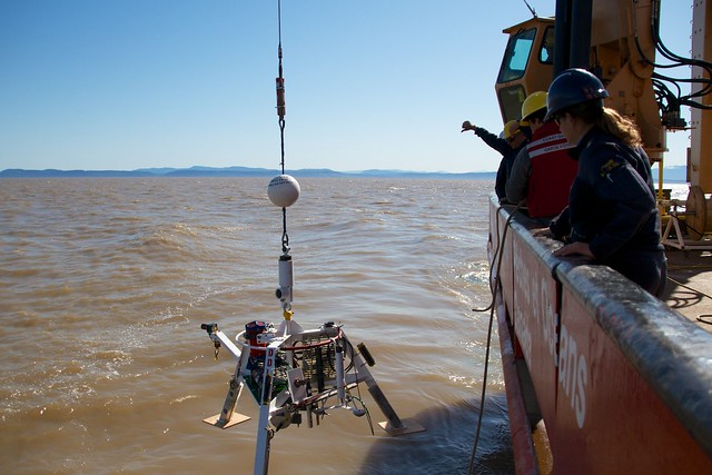The Delta Dynamics Lab is deployed via winch from the CCGS Tully, near the mouth of the Fraser River, 3 May 2013.