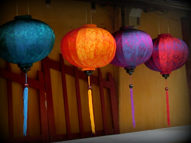 Colourful silk lanterns on a backstreet in Hoi An