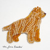 Beaded Golden Retriever Dog Art Pin Brooch