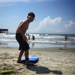 Wes is ready to boogie board at Isle of Palms.