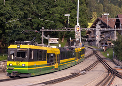 WAB Wengernalbahn Class BDhe 4/8 3-car articulated No. 150 arrives into Wengen on 11 Aug 2016