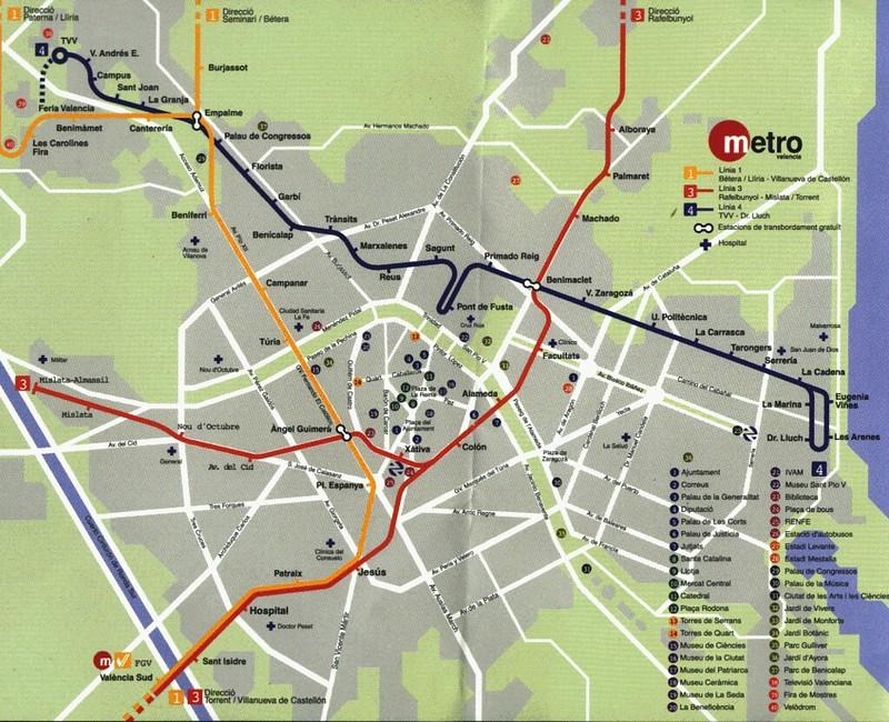 mapa do metro de valencia espanha Mapas Transportes em valencia mapa do metro de valencia espanha