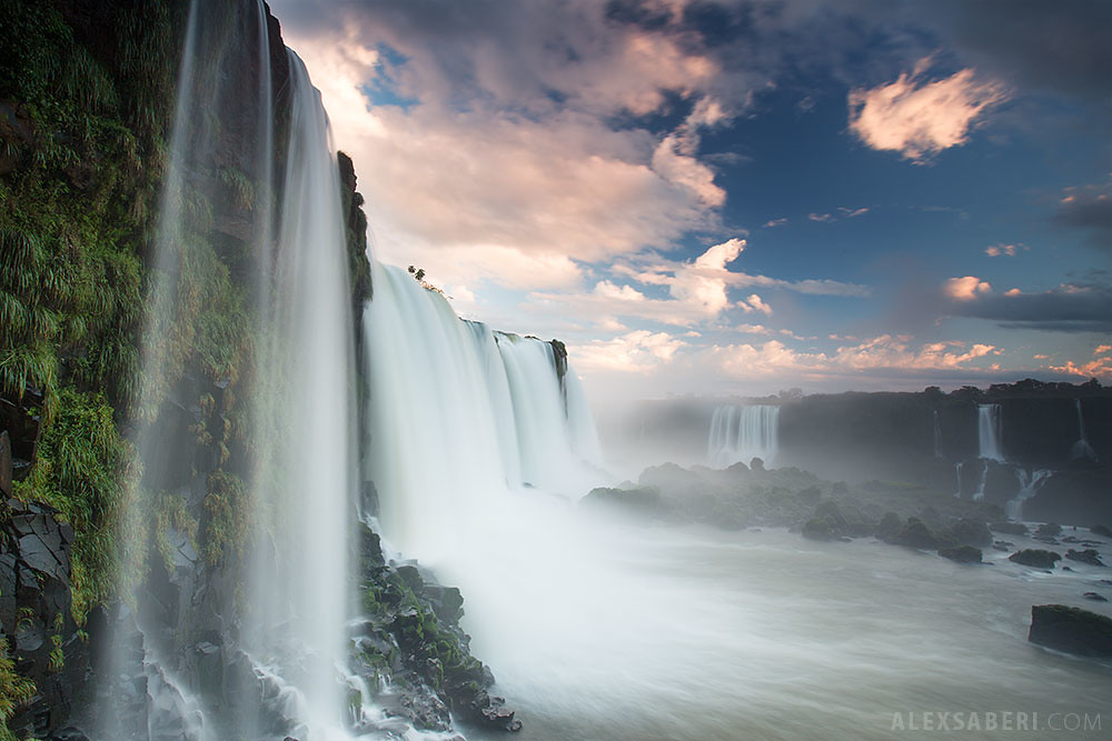 Iguacu Falls (Brazil side), at sunset.