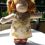 "Dog Print Cotton Dress for 15"" Dolls by Catarina Yarn Craft"