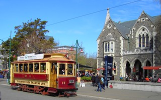 Christchurch. Christchurch tram outside the Arts Centre which was the Gothic style University of Canterbury until 1973.