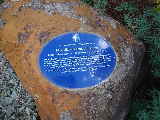Photo of Mia Mia Mechanics' Institute blue plaque