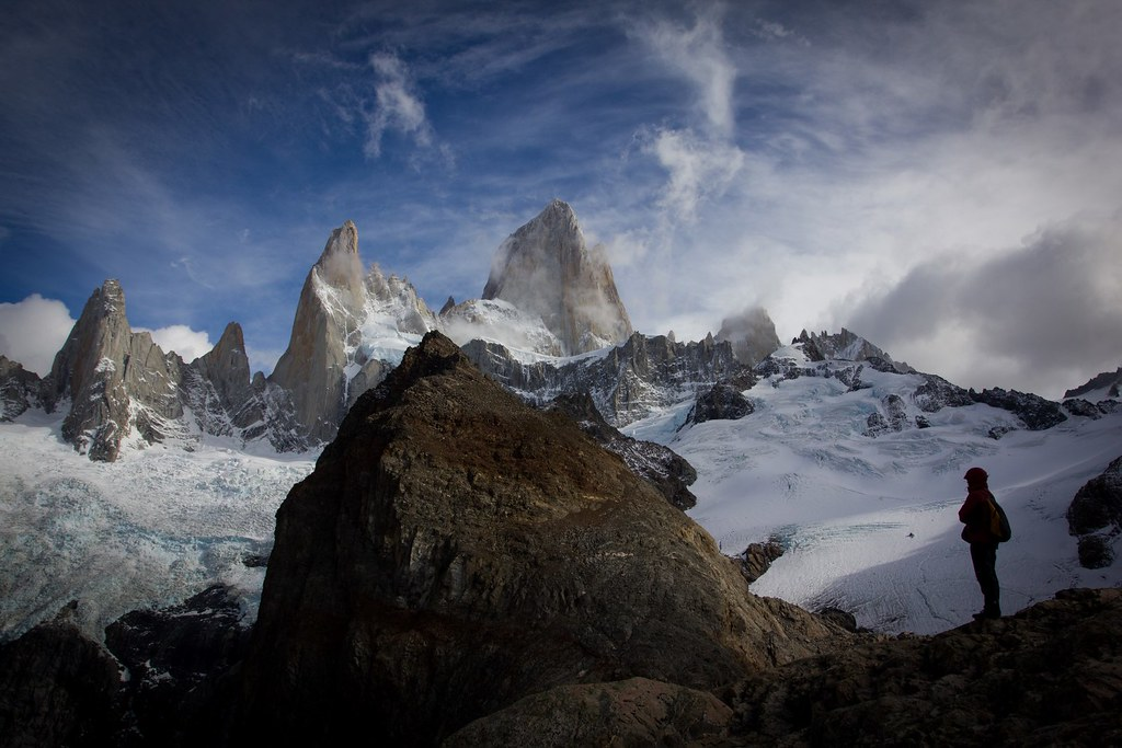 The granite needles of Cerro Fitz Roy and Poincenot are proud garders of the Southern Patagonian Ice Field. Los Glaciares National Park.