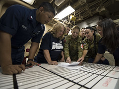 Pacific Partnership participants from the U.S. Navy, partner nations and non-governmental organizations review the upcoming schedule of events at sea aboard USS Pearl Harbor (LSD 52), May 26, as the ship transits toward Samoa, the first stop of the annual mission. (U.S. Navy Photo by Mass Communication Specialist 3rd Class Laurie Dexter)