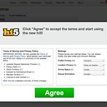 "Click ""Agree"" to accept the terms and start using the new hi5!"