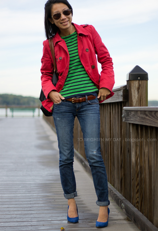 red jacket, green striped tee, blue suede pumps