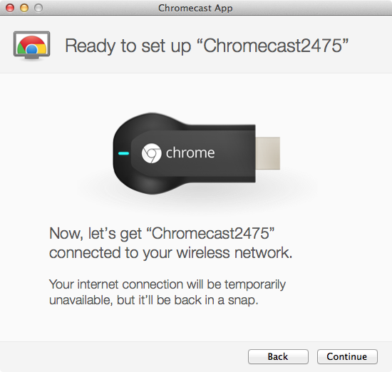 Google Chromecast - Setup Step 2