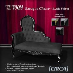 VaVoom - Baroque Chaise - Black Velvet