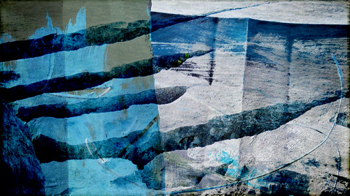 Rock formation on the Aran Island of Inisheer, apped in Stackables and then overlaid with a rock painting in Photoshop
