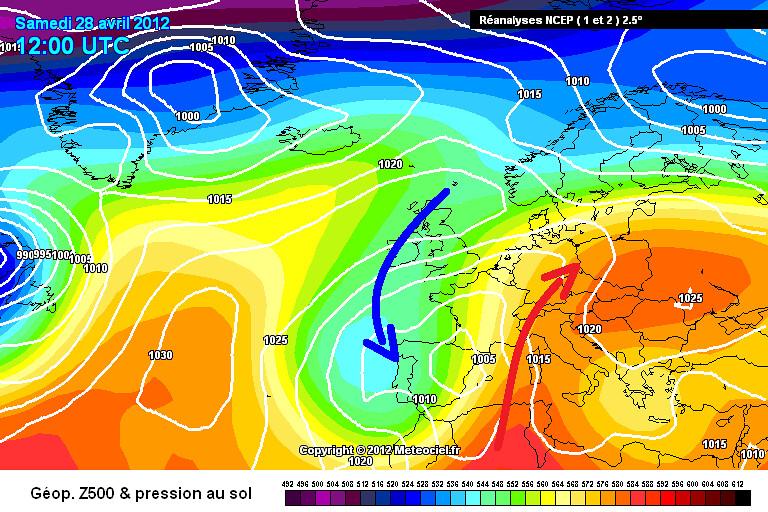 carte de situation des records de chaleur et du temps contrasté le 28 avril 2012 météopassion