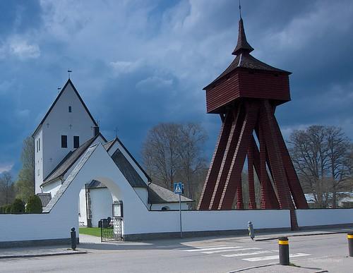 Moheda Church and threatening skies.