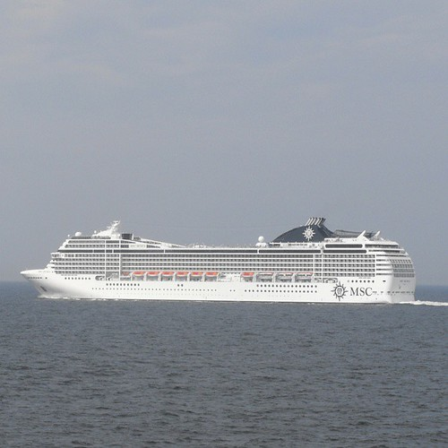 MSC Musica sailing next to us (MSC Magnifica) on our way to Copenhagen - both docking at 9am by chrisLgodden