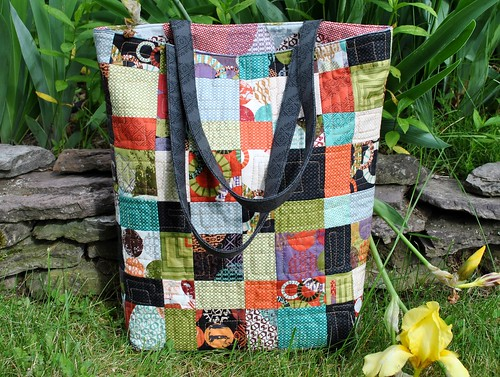 Teacher's Pet bag pattern by Sweet Jane, juggling summer fabric by Zen Chic