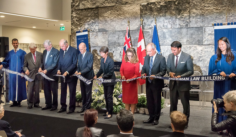 "On September 29, 2016, members of the University of Toronto community gathered to celebrate the official opening of the new Jackman Law Building.  With alumnus Hal Jackman as the catalyst, more than 600 alumni contributed more than three-quarters of the $34.5 million raised for the project.  Located only a stone's throw away from Queen's Park and the Ontario legislature, the building's award-winning architectural design symbolizes much more than prestigious new office space and classrooms for law students and faculty.  ""For too long, our Faculty of Law has operated in a physical environment that did not fully reflect its excellence and stature as one of the world's best law schools,"" President Meric Gertler said. ""The Jackman Law Building provides a cutting-edge environment designed to support the excellence of the faculty, staff and students who work and study here.""  All photos by Lisa Sakulensky."