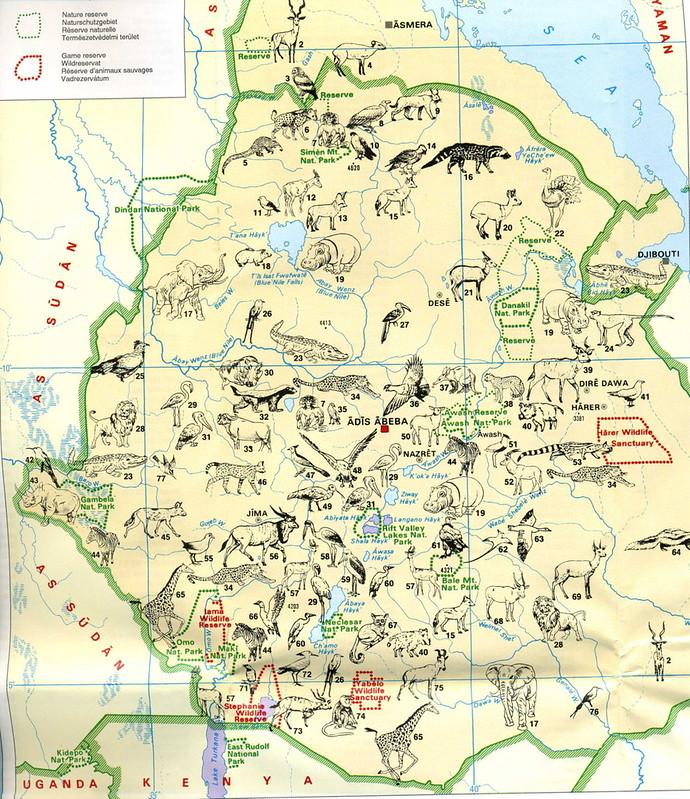 Mapa de Parques Naturais e Vida Selvagem na Etiopia