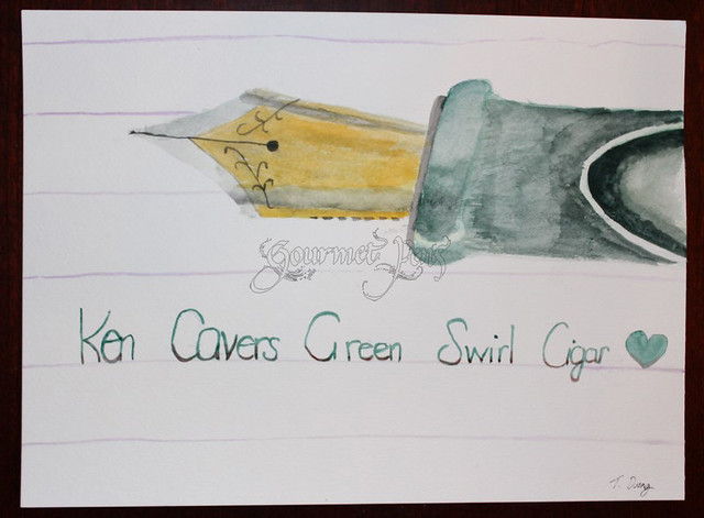 Ken Cavers Green Swirl Cigar Painting by Tiffany