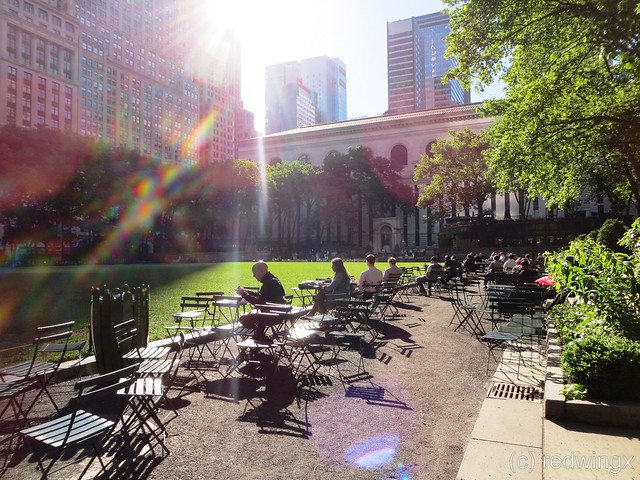 Bryant Park sun over lawn